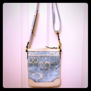 Coach blue & cream signature crossbody bag